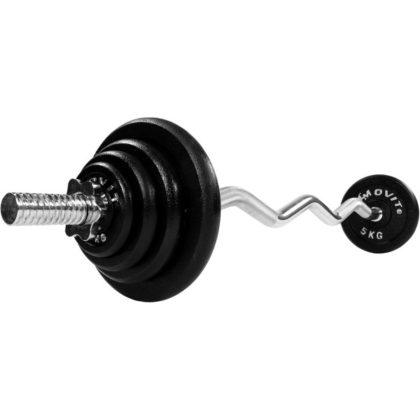 MOVIT® Profi Curl Hantelset 120cm 26 kg Hantel Set