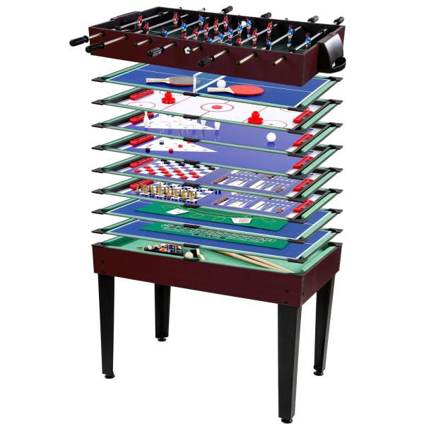Multigame Spieletisch 15 in 1, dunkles Holzdekor