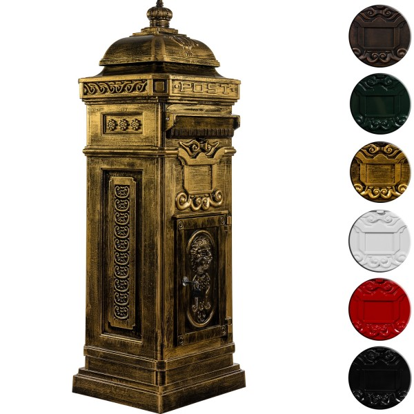 Standbriefkasten, Postkasten antik messing