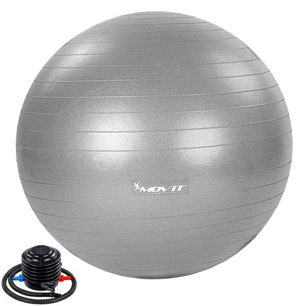 MOVIT® Gymnastikball mit Fußpumpe, 55 cm, silber