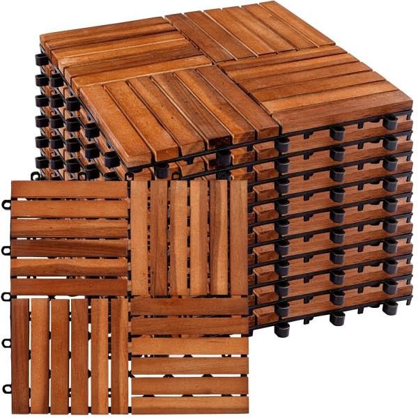 STILISTA 11er Set Akazie Holzfliesen Mosaik 4x4