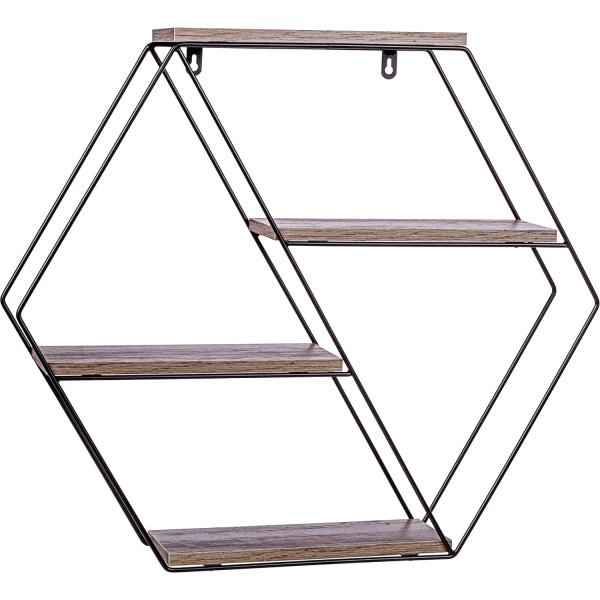 STILISTA® Design Regal hexagon Holz dunkel