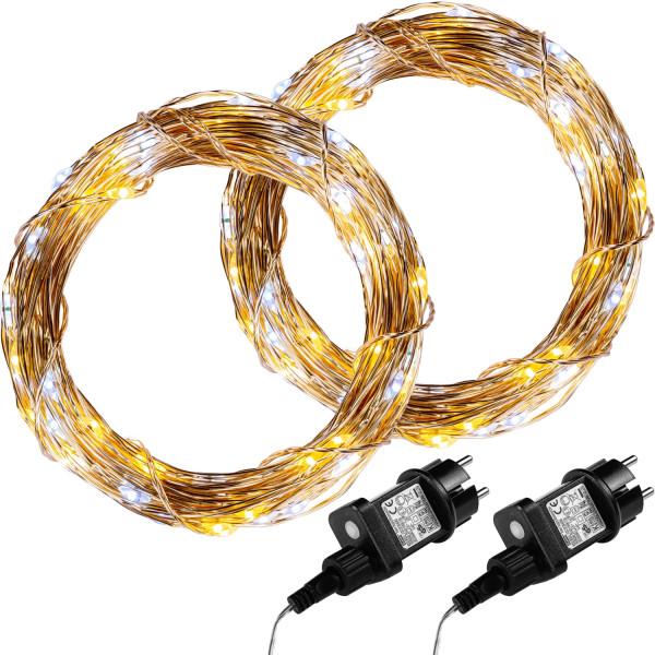 VOLTRONIC® 2Set 200 LED Lichterkette Draht,warm/kalt,Adapter
