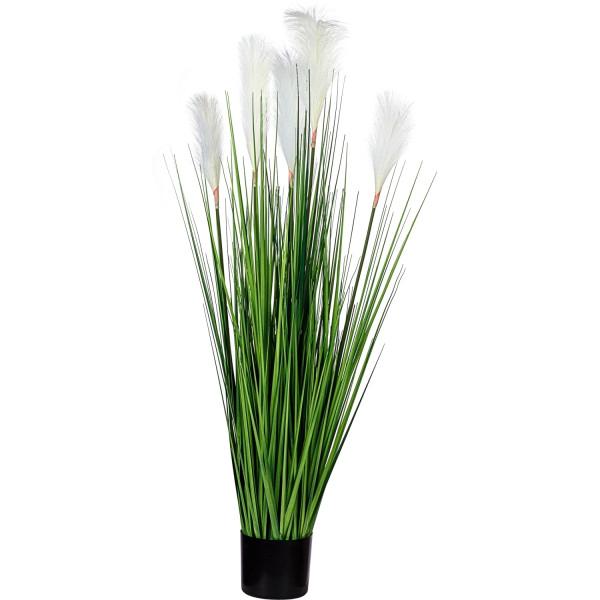 PLANTASIA® Federgras 120cm, weiße Blume, Kunstpflanze