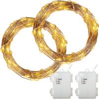 VOLTRONIC® 2er Set 50 LED Lichterkette Draht, warmweiß, Batt