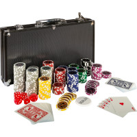 Pokerkoffer, Pokerset, mit 300 Laserchips, BLACK EDITION