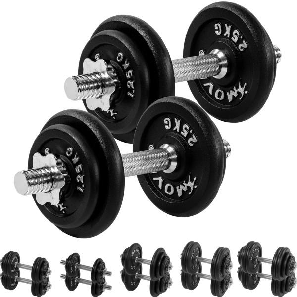 MOVIT® 2x 10 kg Hantelset, Gusseisen, 20 kg Kurzhanteln