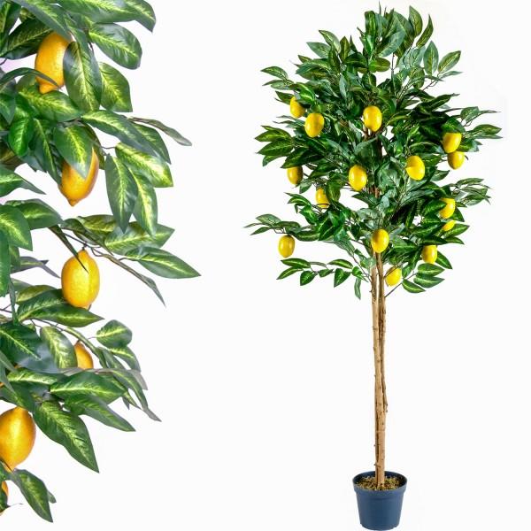 Zitronenbaum, Echtholzstamm, Kunstpflanze, Kunstbaum 184cm
