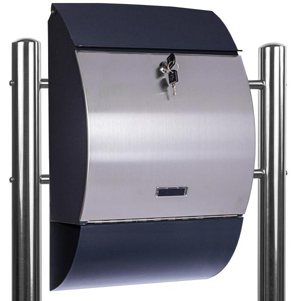 STILISTA® Standbriefkasten Stahl MIX mit Edelstahl Beinen 33