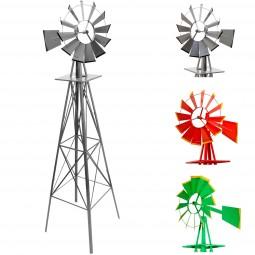 Gigantisches Windrad 245cm US-Style silbergrau, Windmühle