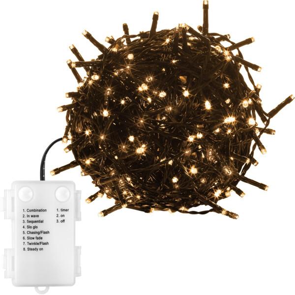 VOLTRONIC® 200 LED Lichterkette, warmweiß, grün, Batt