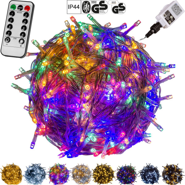 VOLTRONIC® 200 LED Lichterkette, bunt, Kabel trans, FB