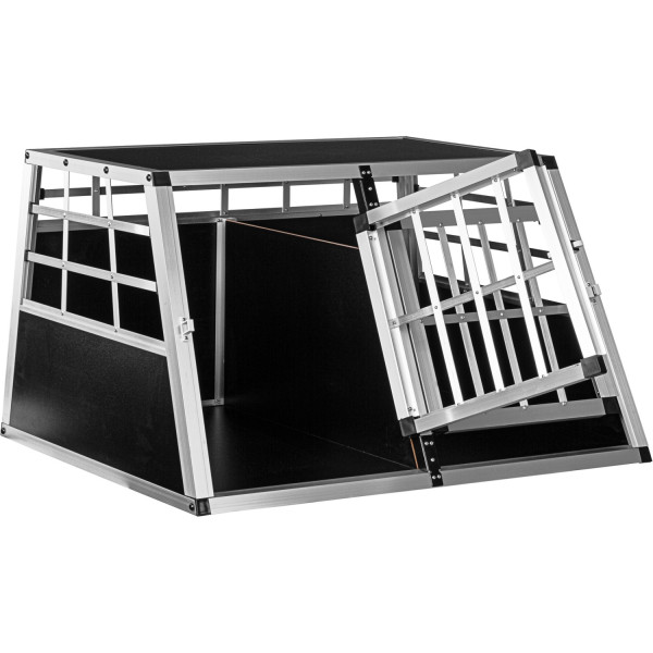 Alu Hundetransportbox 2-türig mit Trennwand Rückwand 90°