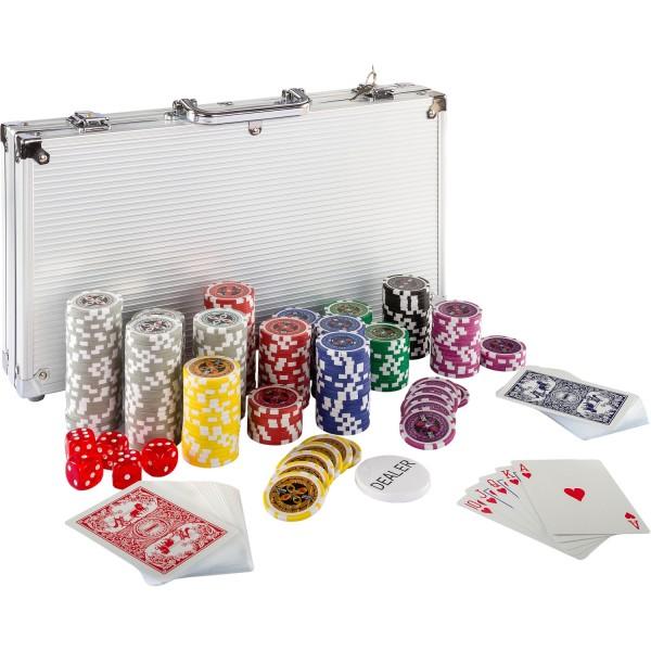 Pokerkoffer, Pokerset, mit 300 Laserchips, Aluminium