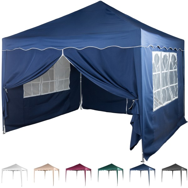 3x3 Faltpavillon Stahl Blau + 2 ST mit F. + 2 ST mit RV