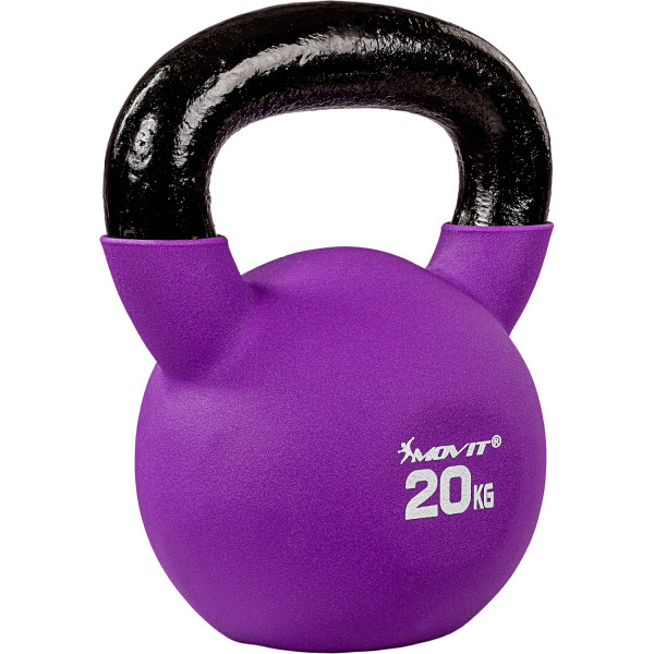 MOVIT® 20kg Kettlebell Kugelhantel gusseisen neopren violett