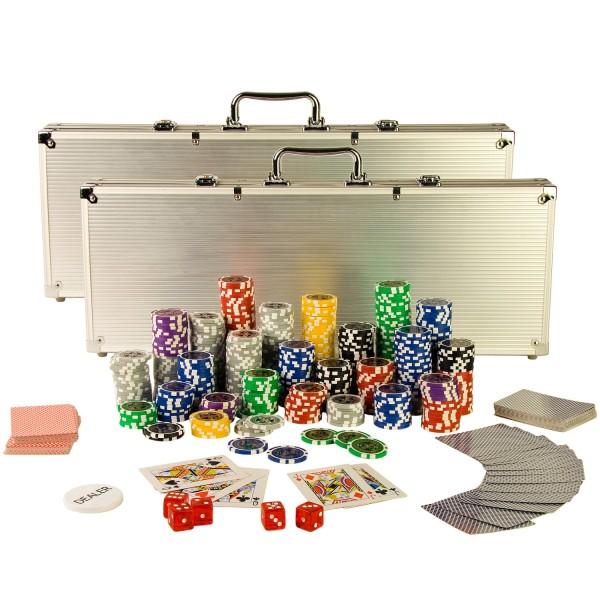 Poker Set mit 1000 Laser-Chips, Pokerkoffer Aluminium