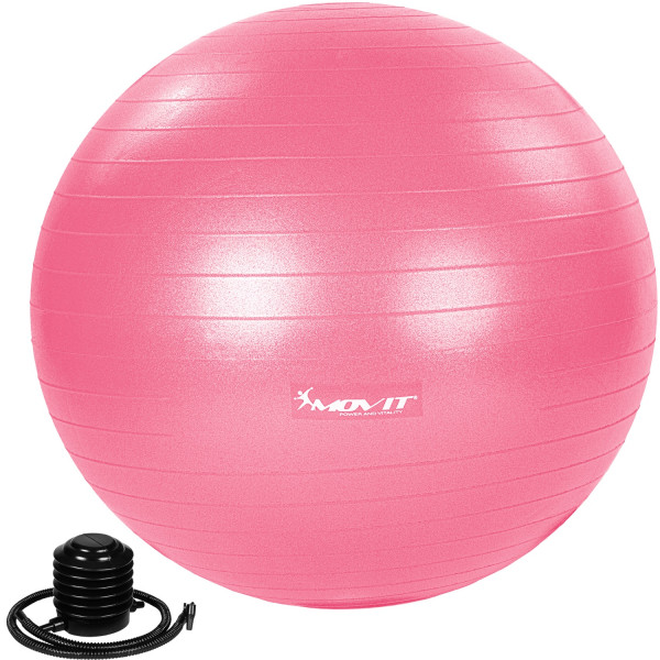 MOVIT® Gymnastikball mit Fußpumpe, 65 cm, pink