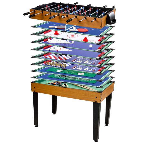 Multigame Spieletisch 15 in 1, helles Holzdekor