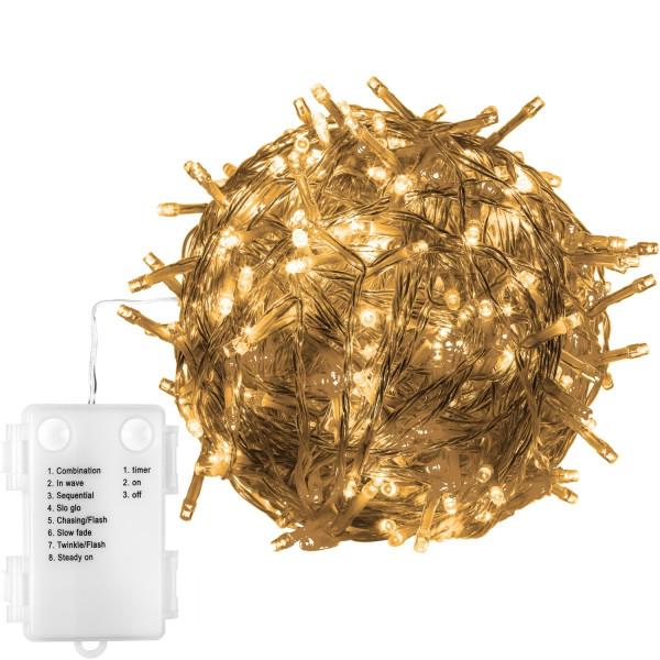 VOLTRONIC® 50 LED Lichterkette, warmweiß, Kabel transp, Batt