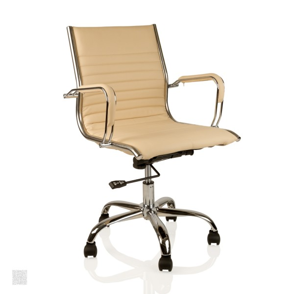 Bürostuhl Drehstuhl Leder-Optik Chefsessel creme