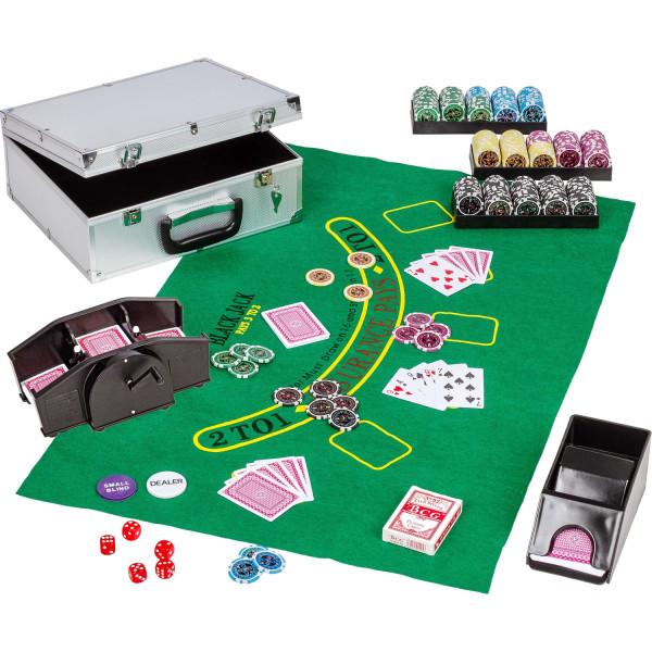 Ultimate Pokerset Pokerkoffer 300 Laserchips Kartenmischer